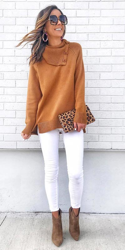 Buttoned Pullover + White Color Jeans + Vince Amuto Booties | 15+ Trendy Street Style Outfits to Copy ASAP