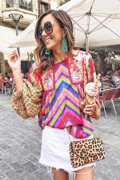 Eclectic Peasant Blouse+ Mid Rise Mini Skirt | 15+ Cute Summer Outfit Ideas to Look Like A Chic