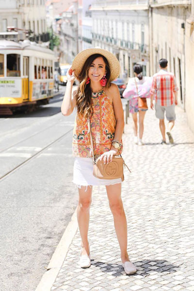 Embroidered Halter Top + Mid Rise Mini Skirt + Gucci Leather Bag | 25 Perfect Summer Outfits That Always Looks Fantastic