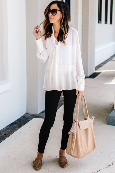 Peplum Silk Blouse + Rag Bone High Rise Skinny Jeans + Mules + Bag | 21+ Lovely Summer Dresses Inspired by Fashion Influencers