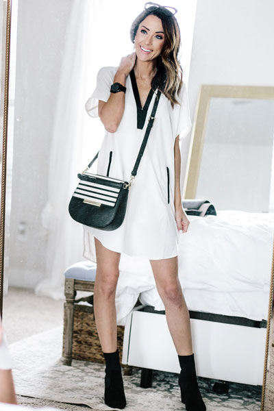 ASTR V-Neck Crepe Dress +Make it Mine Shoulder Bag + Steve Madden Reece Booties | 15+ Cute Summer Outfit Ideas to Look Like A Chic