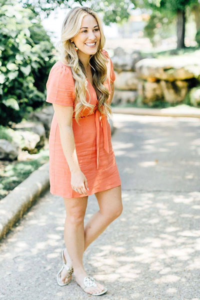Tie Front Mini Dress + Tory Burch Flip Flop Sandals | 25 Perfect Summer Outfits That Always Looks Fantastic