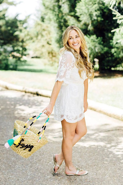 Lace Romper + Tory Burch Flip Flop Sandals | 21+ Lovely Summer Dresses Inspired by Fashion Influencers