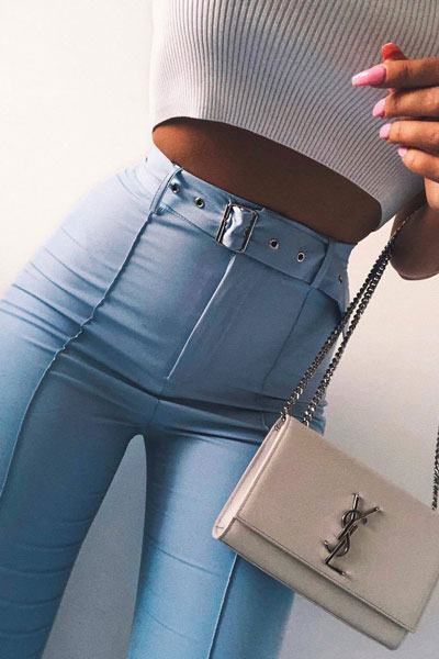 Light Blue High Waisted Trouser+ Saint Laurent Shoulder Bag | 51+ Popular Summer Outfits You Should Already Own