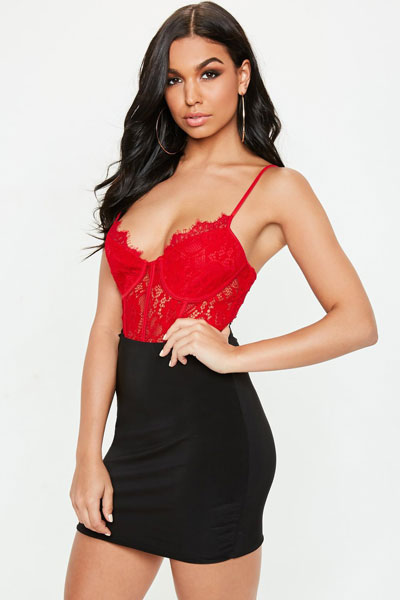 Red Strappy Lace Cupped Bodysuit | 21+ Lovely Summer Dresses Inspired by Fashion Influencers