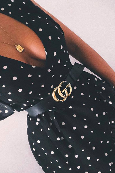 Polka Dot Black Dress + Gucci Belt | 15+ Cute Summer Outfit Ideas to Look Like A Chic
