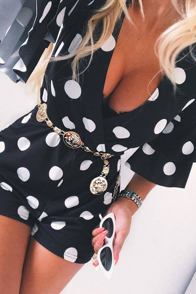 Polka Dot Playsuit | 19 Classy Outfit Ideas To Finish This Summer With Style