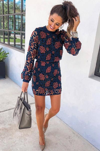 Mini Lace Dress+ Leather Point-ToePumps | 15+ Cute Summer Outfit Ideas to Look Like A Chic