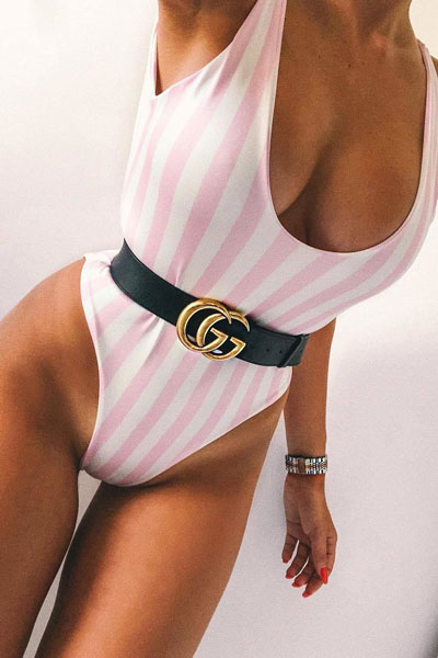 White Candy Stripe Swimsuit | 15+ Cute Summer Outfit Ideas to Look Like A Chic