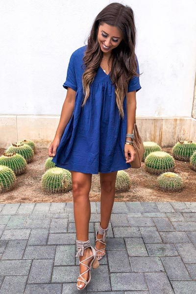 Cute Navy Dress + Jeffrey Campbell Sandals | 25 Perfect Summer Outfits That Always Looks Fantastic