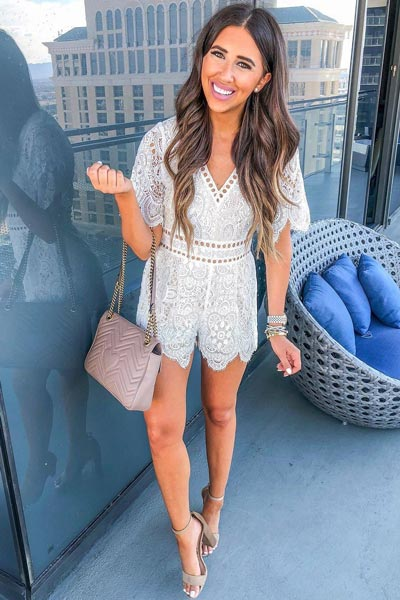 Lace Romper | 15+ Cute Summer Outfit Ideas to Look Like A Chic