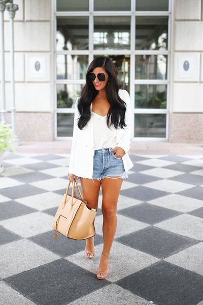 jacket + Satin Cami Top + Loose Fit Cutoff Shorts | 21+ Lovely Summer Dresses Inspired by Fashion Influencers