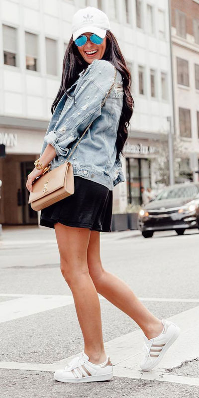 Strappy Swing Dress + Madewell Oversized Jean Jacket+ Adidas Originals Superstar Sneakers | 15+ Trendy Street Style Outfits to Copy ASAP