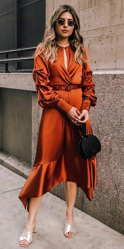Satin Keyhole Midi Dress | 15+ Trendy Street Style Outfits to Copy ASAP
