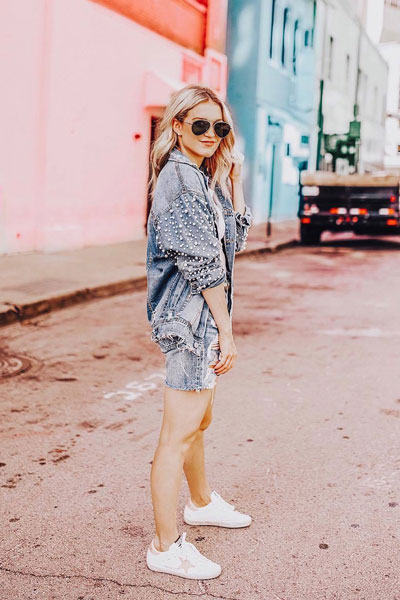 Blue Pearls Denim Jacket + Levi's Jeans + Golden Goose Women's Sneakers | 22+ Elegant Short Dresses You will Love to Try