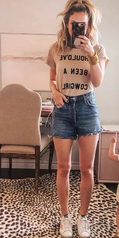 Cowgirl Tee + High Rise Shorts + Golden Goose Women's Sneakers | 22+ Elegant Short Dresses You will Love to Try